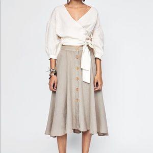 Zara midi linen skirt